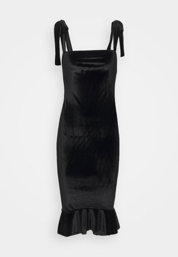 TIE STRAP MIDI DRESS - Shift dress - black