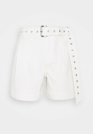 PLEATED BELTED - Denim shorts - white