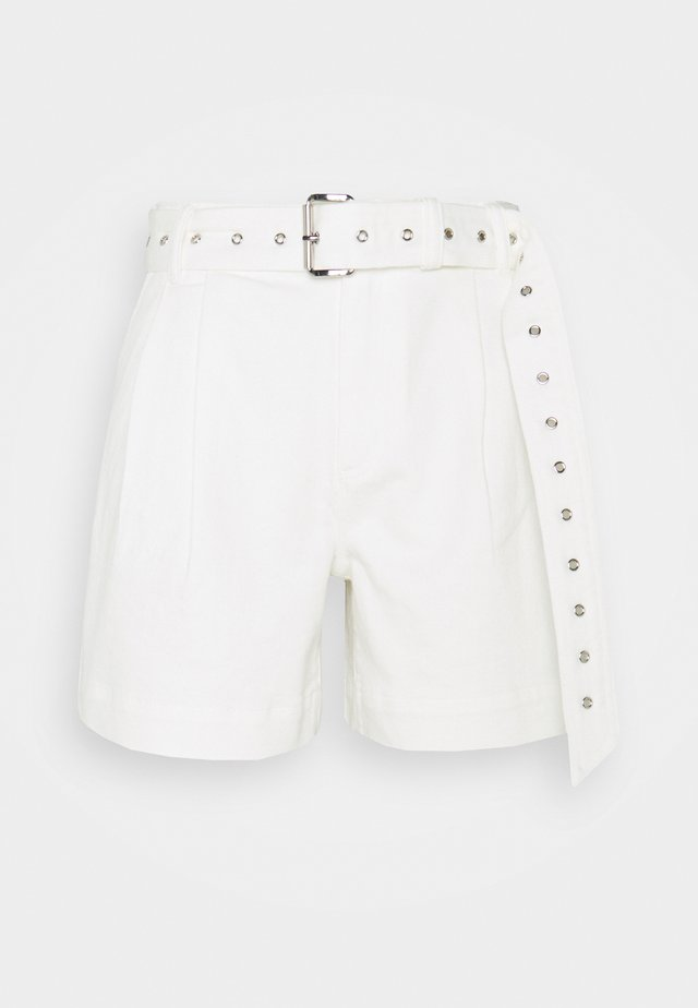PLEATED BELTED - Shorts di jeans - white
