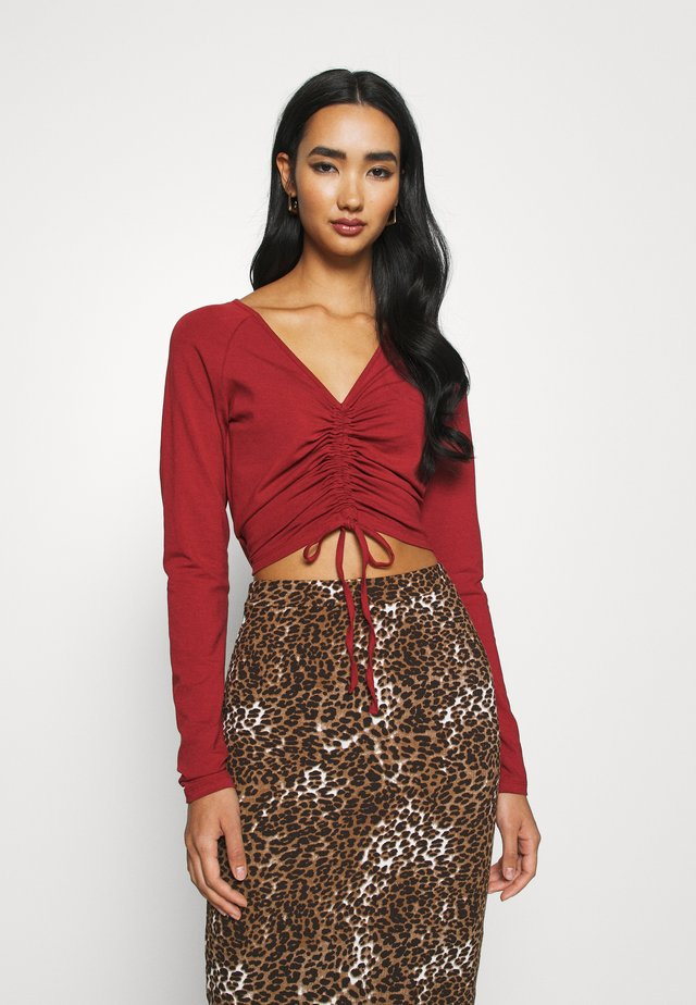 CROPPED TIE - Long sleeved top - red