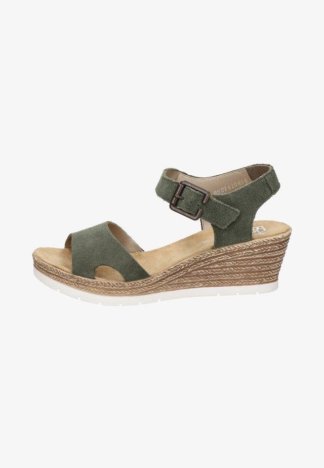 Sandalen met sleehak - groen