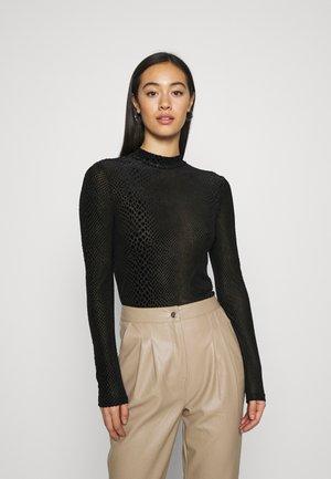 NMJOHANNE  SLIM VELVET - Long sleeved top - black