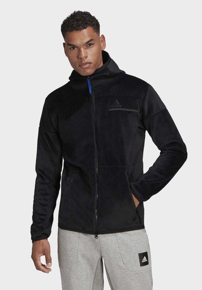 adidas Performance - ADIDAS Z.N.E. FULL-ZIP VELOUR HOODIE - Zip-up hoodie - black