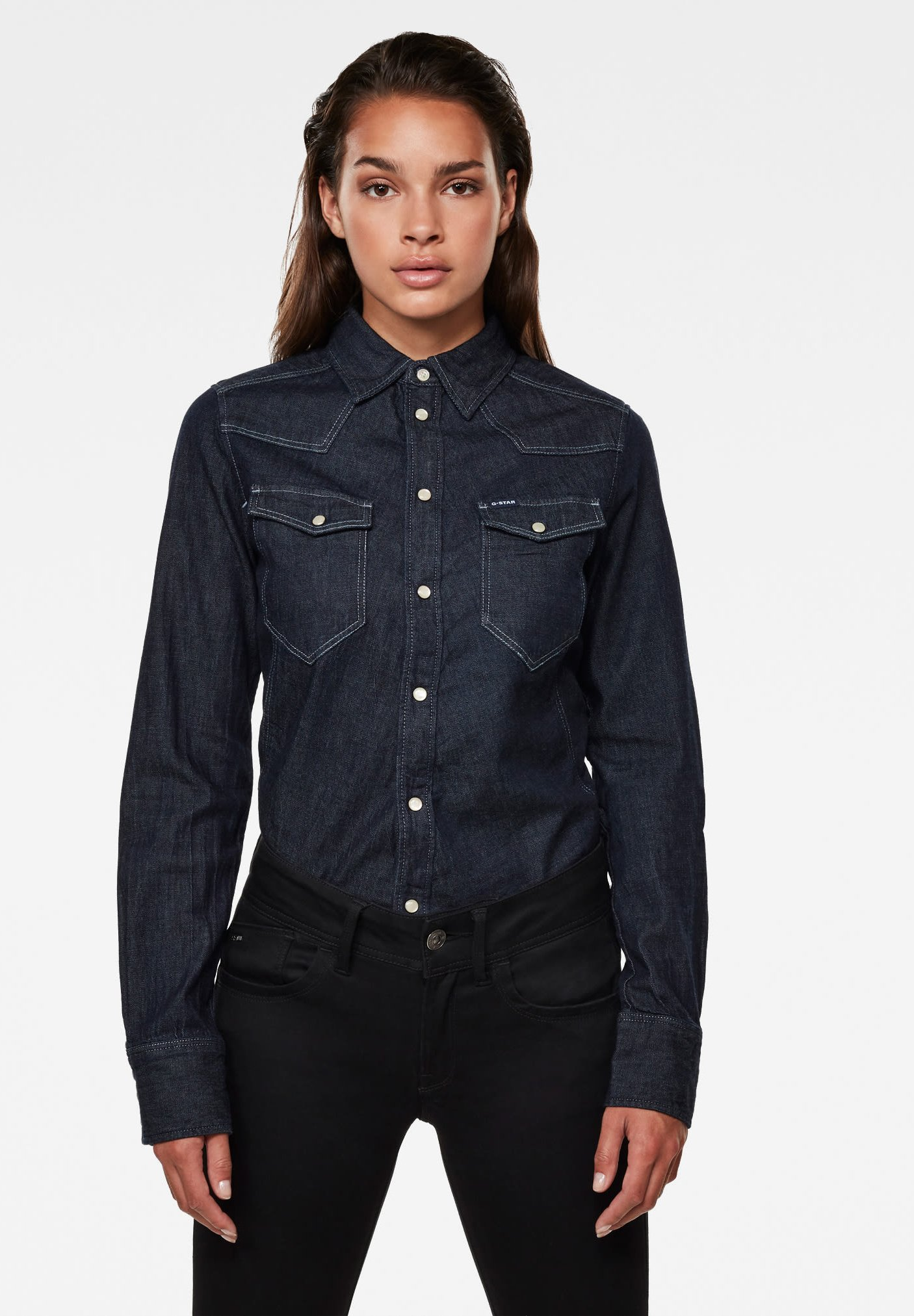 Women WESTERN KICK DENIM SLIM LONG SLEEVE - Button-down blouse