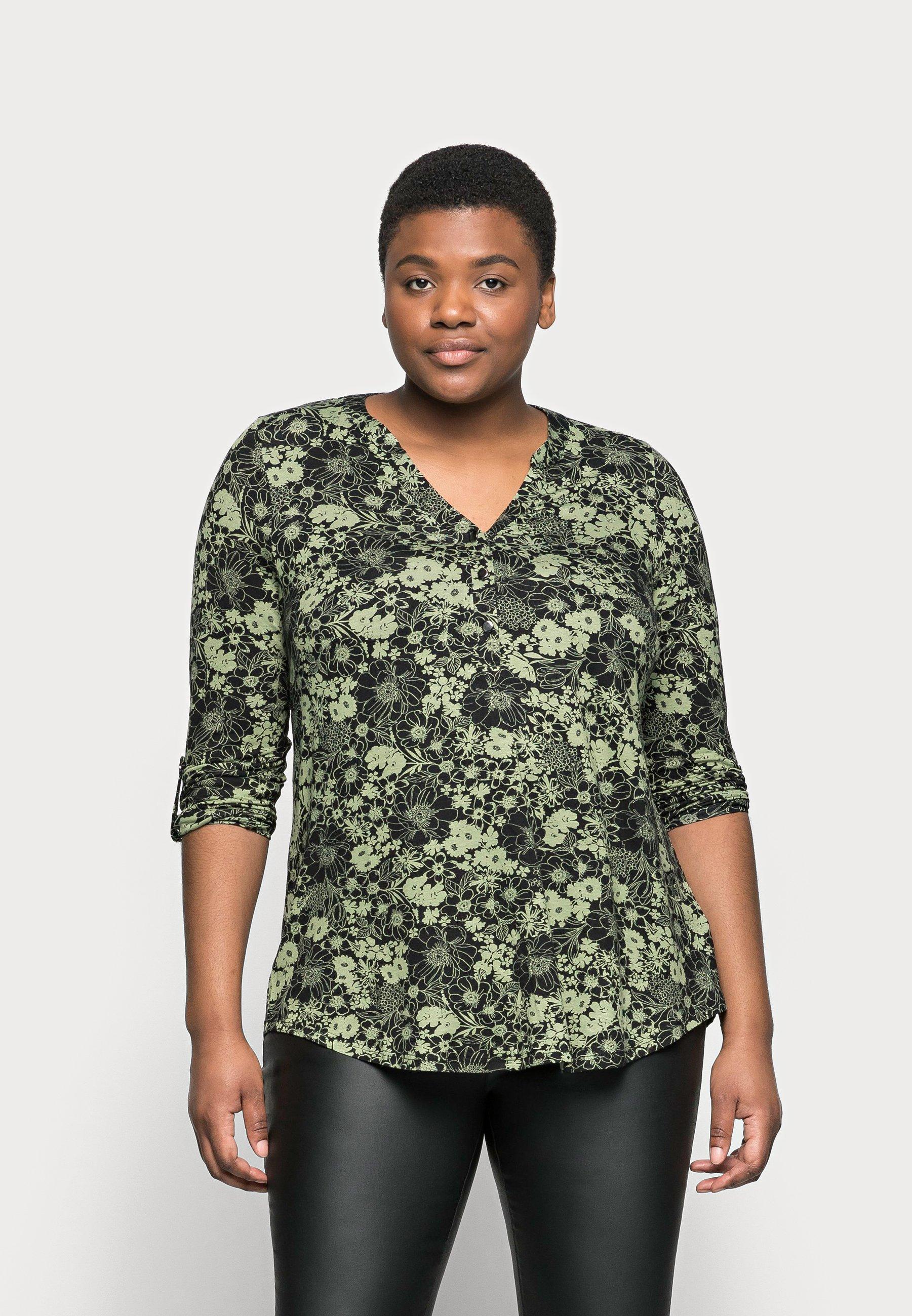 Women KHAKI FLORAL SHIRT - Long sleeved top