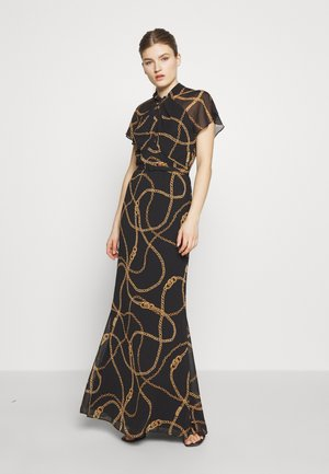 PRINTED CRINKLE LONG - Vestido de fiesta - black/gold/multi