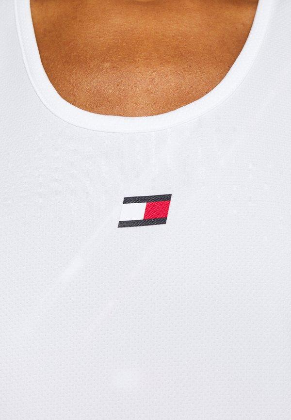 Tommy Sport PERFORMANCE TANK TOP - Koszulka sportowa - white Nadruk Odzież Damska IKDD VO 8
