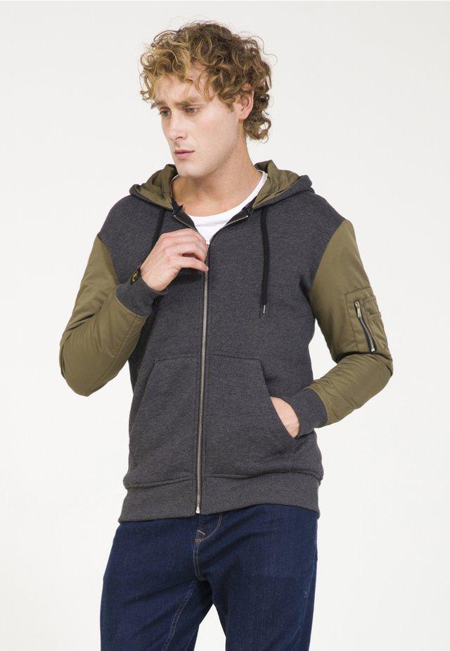 Zip-up hoodie - schwarz melange