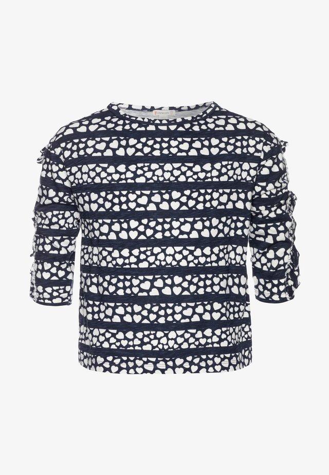 KIKI RUFFLE SLEEVE PRINTED - T-shirt con stampa - navy/ivory