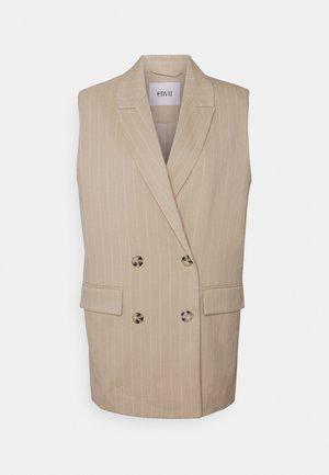 ENJULIETTE WAISTCOAT  - Waistcoat - beige pinstripe