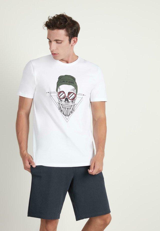 Print T-shirt - bianco st.hipster skull