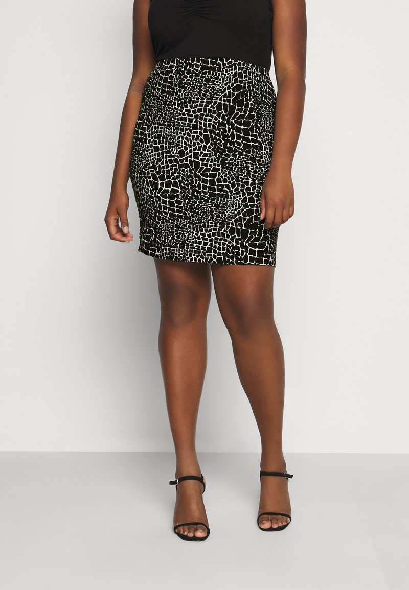 CAPSULE by Simply Be - MONO PRINT MINI SKIRT - Mini skirt - black/ivory