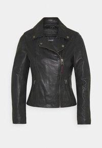 CLIPS - Leather jacket - black