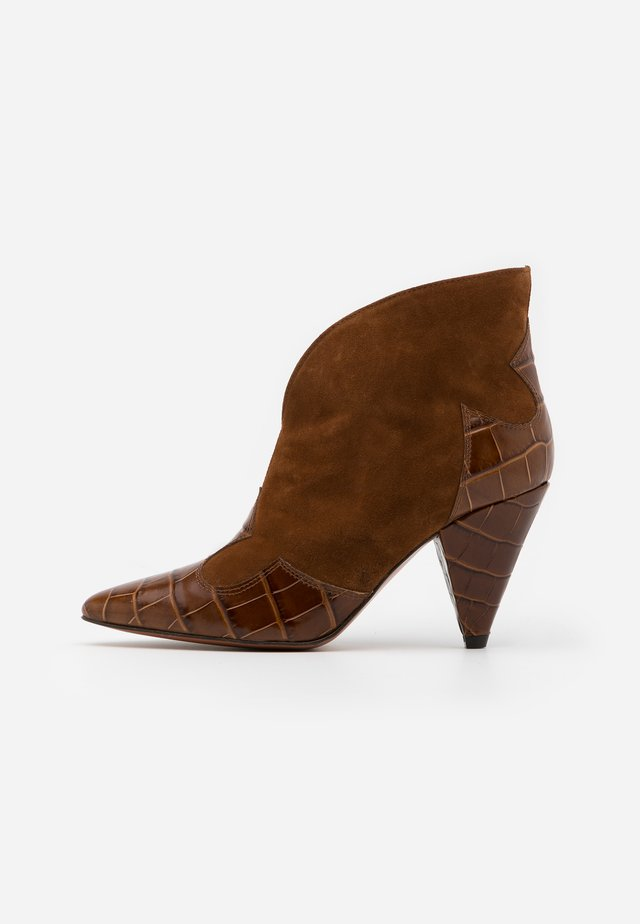 High heeled ankle boots - polisander/basket