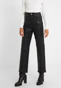 rag & bone - JANE TROUSER - Spodnie skórzane - black - 0