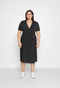 ONLY Carmakoma - CARLUXMILA CALF SHIRT DRESS  - Day dress - black/white - 0