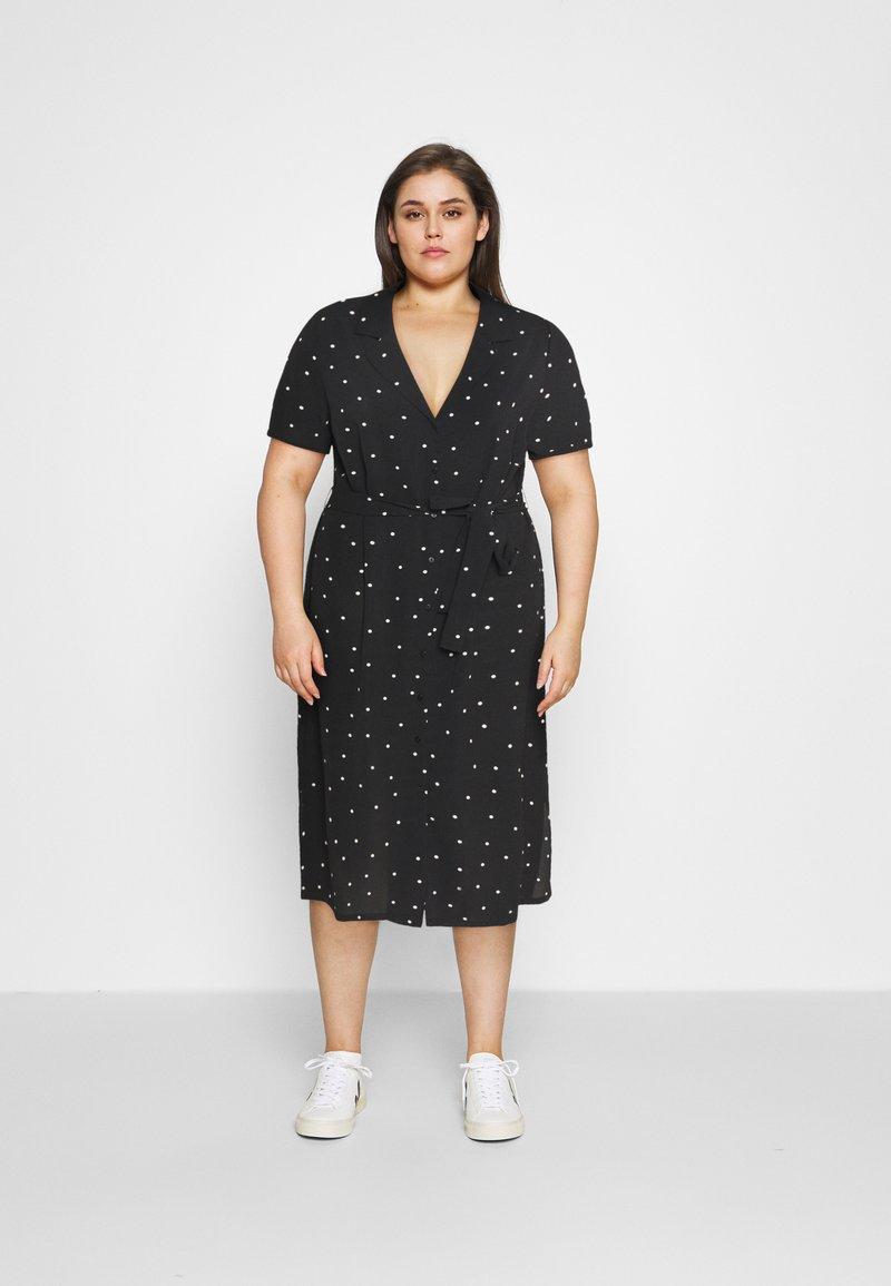ONLY Carmakoma - CARLUXMILA CALF SHIRT DRESS  - Day dress - black/white