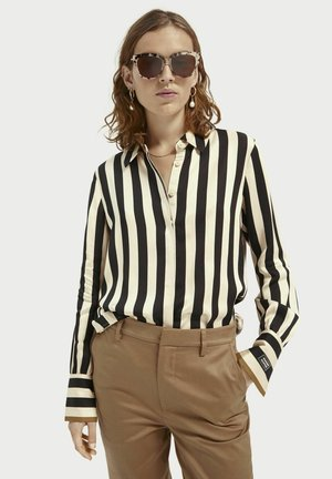 Button-down blouse - black/off-white