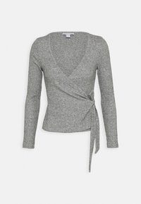 Topshop Petite - BRUSHED BALLET WRAP - Long sleeved top - grey - 0