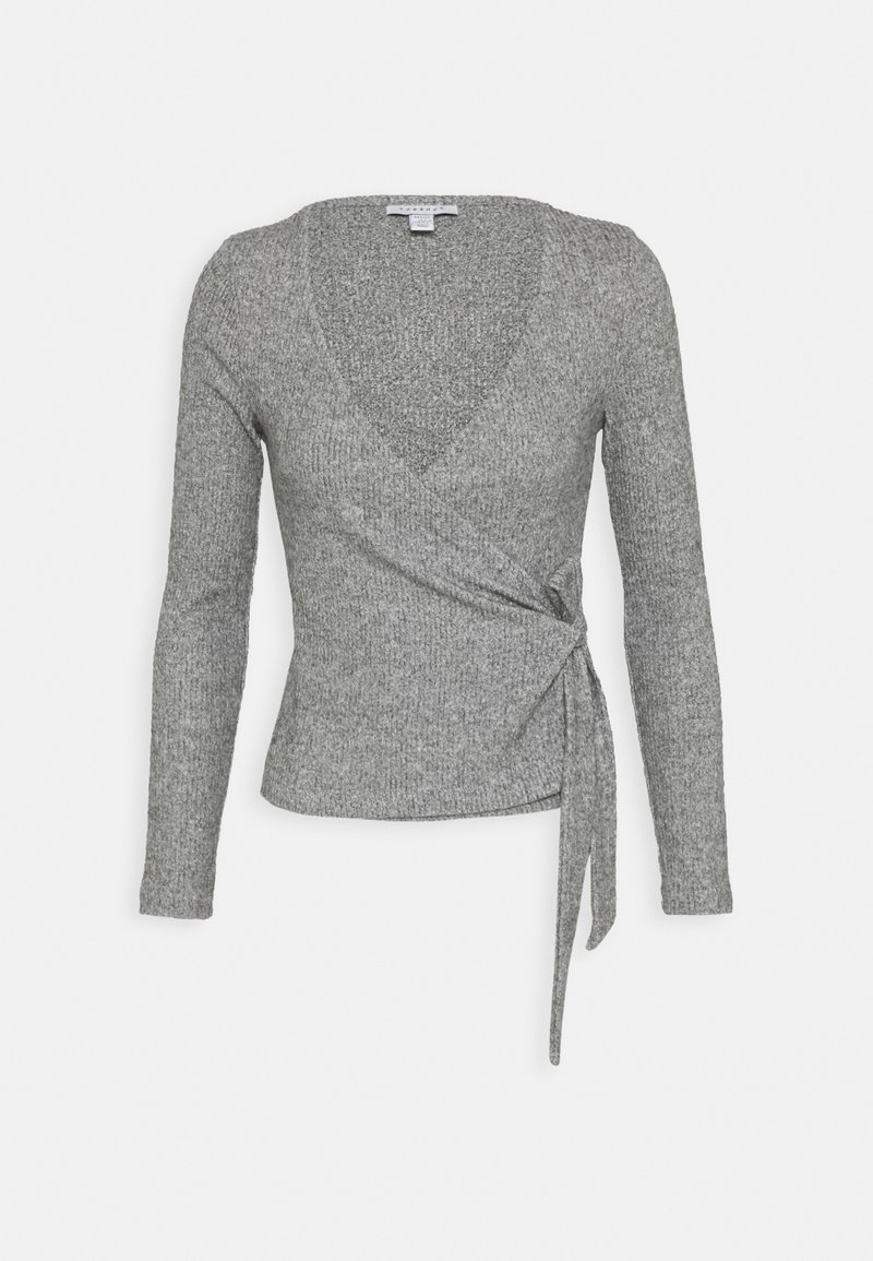 Topshop Petite - BRUSHED BALLET WRAP - Long sleeved top - grey