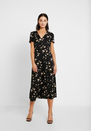 BUTTON THROUGH SKATER DRESS MIDI FLORAL - Sukienka koszulowa - black