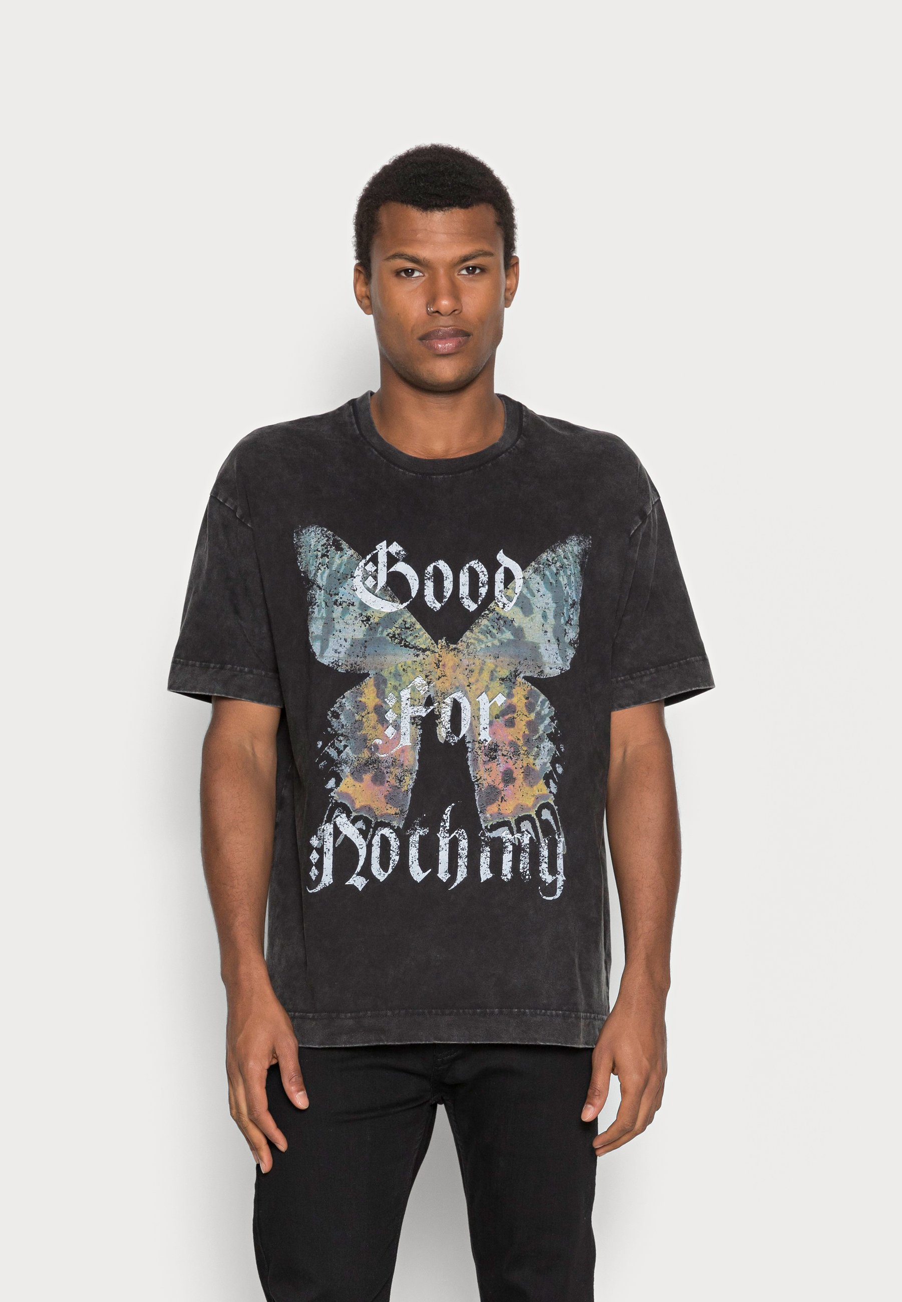 Damen OVERSIZED GREY ACID WASH BUTTERFLY - T-Shirt print