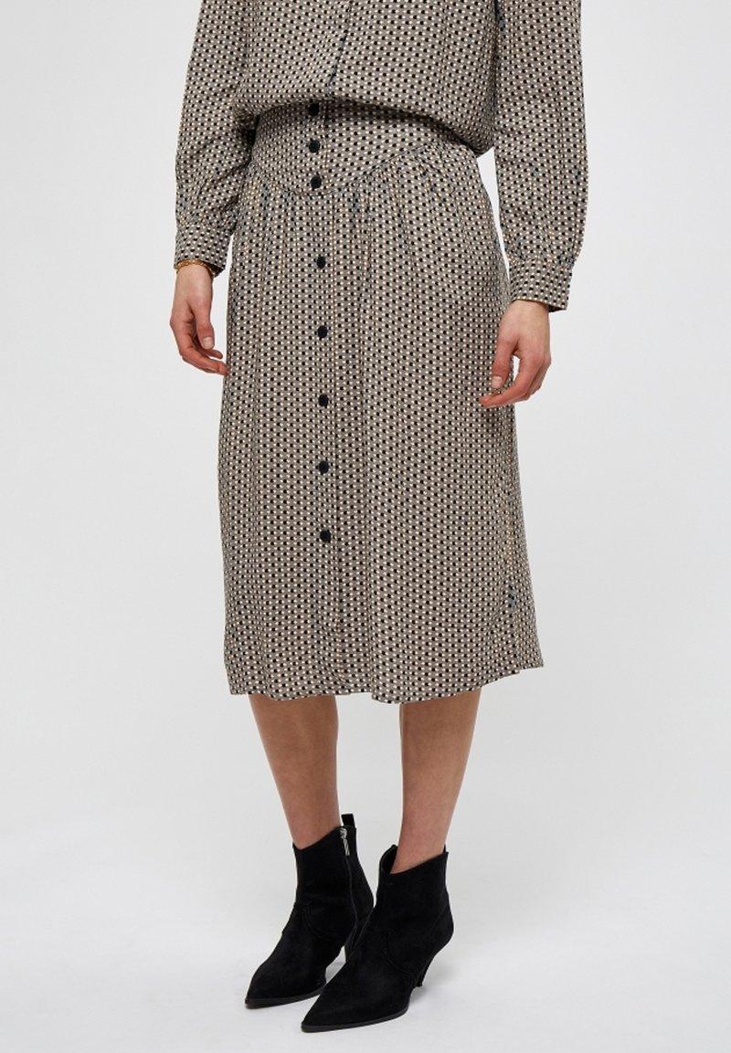 Minus - JASMINA  - A-line skirt - shadow dot steel grey print