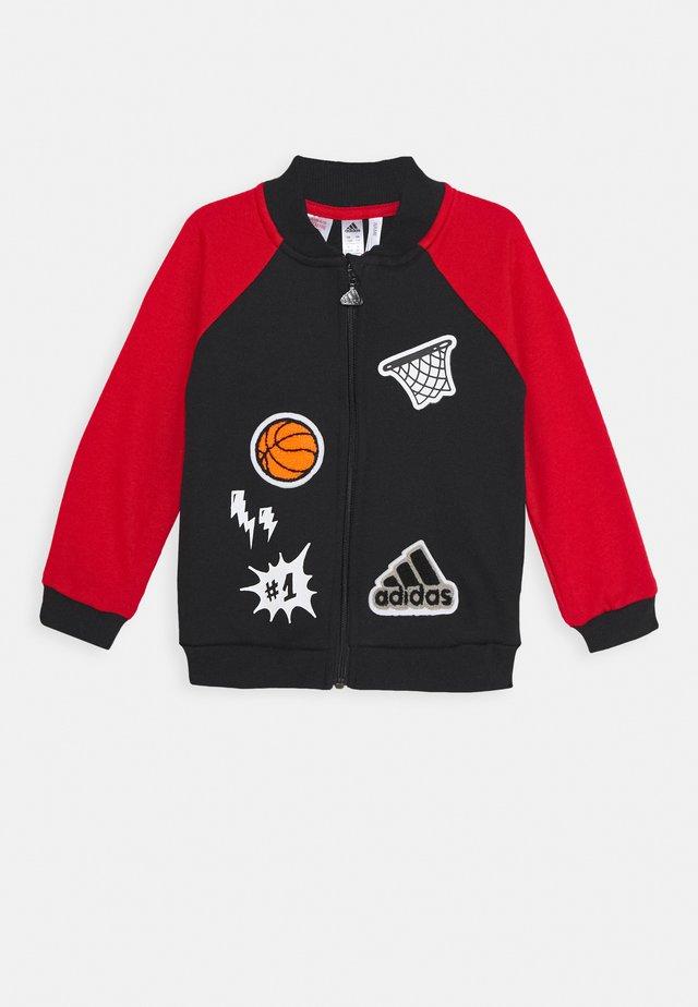 Zip-up hoodie - black/scarlet/white