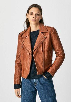 MEGAN - Leather jacket - cognac