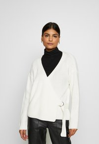 Missguided - D RING BELTED WRAP FRONT CARDIGAN - Cardigan - cream - 0