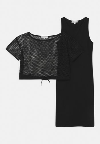 ABITO RETE 2-IN-1 - Žerzejové šaty - black