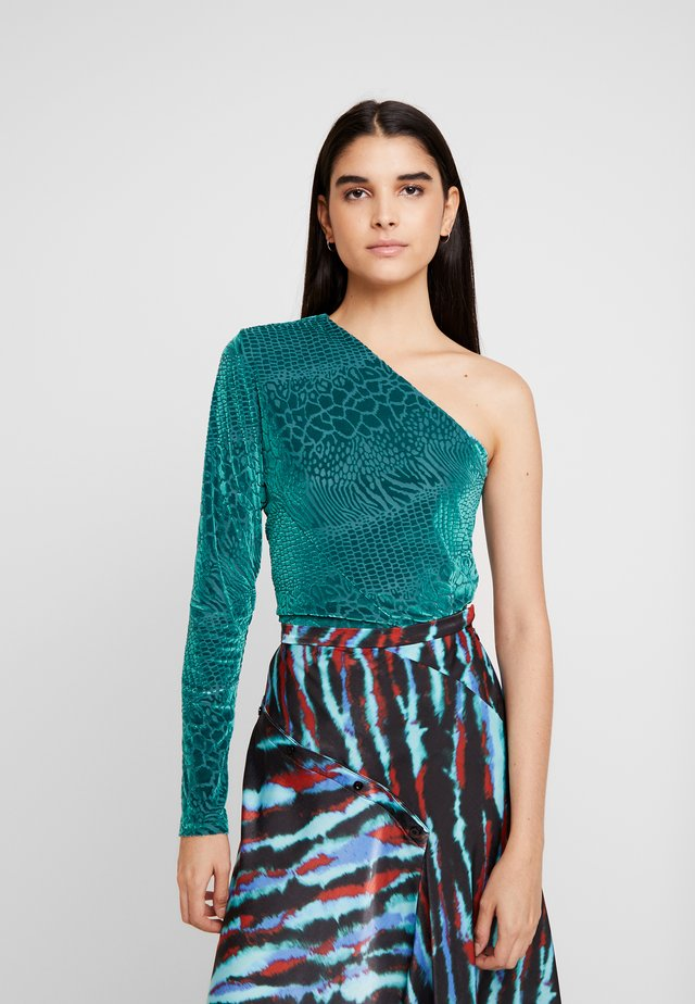 SNAKE DEVORE ONE SHOULDER - Maglietta a manica lunga - teal