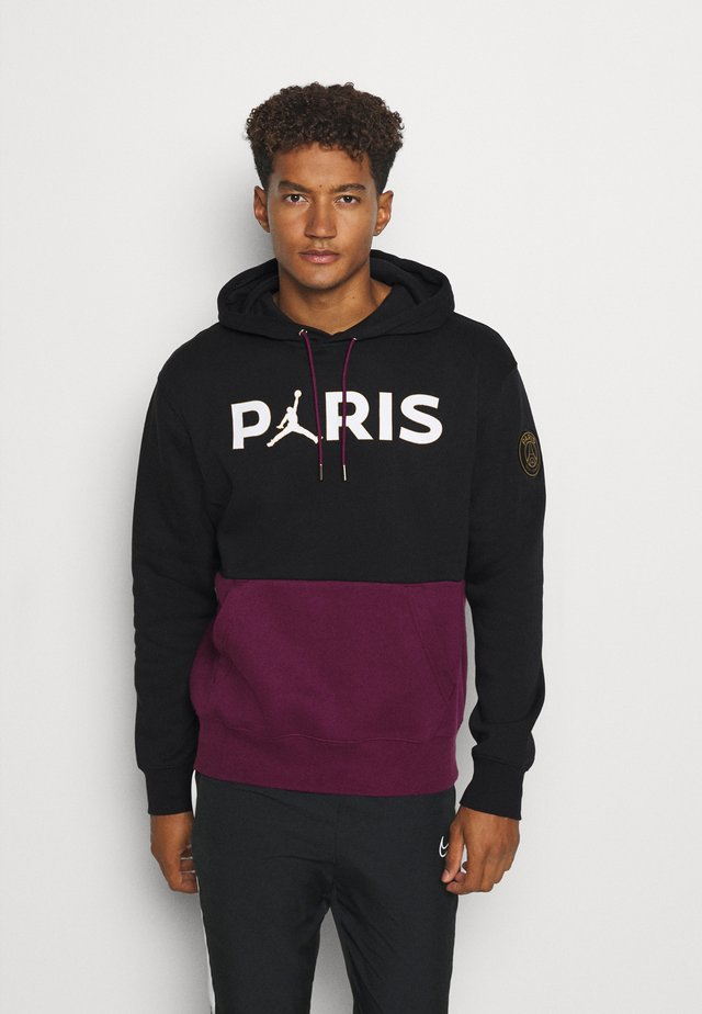 PARIS ST GERMAIN FLC HOODIE - Artykuły klubowe - black/bordeaux/metallic gold/white