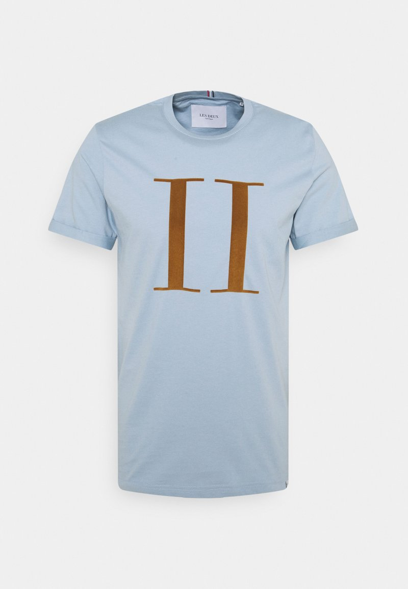 Les Deux - ENCORE  - Print T-shirt - dust blue/stone brown