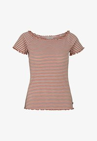TOM TAILOR DENIM - CARMEN - Print T-shirt - coral white stripe - 5