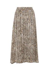Kaffe - Pleated skirt - brown leo print gold lurex - 4