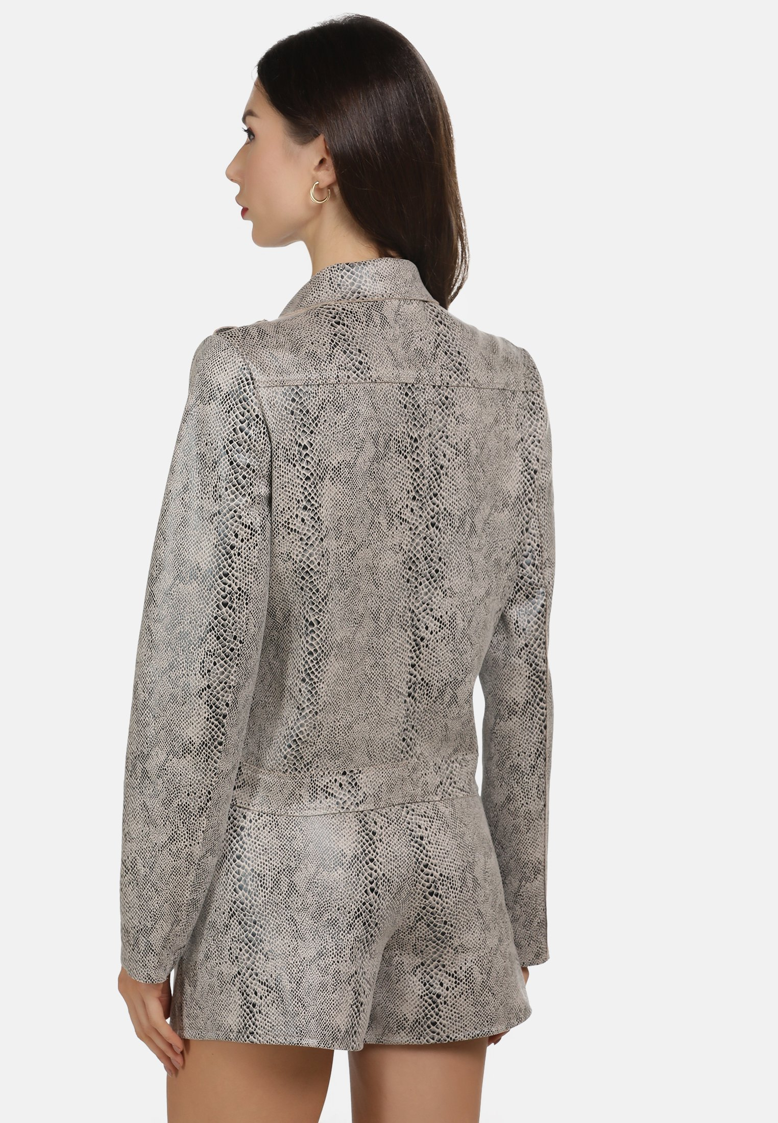 faina MIT SCHLANGENPRINT - Veste en similicuir - grey - Vestes Femme Zunav