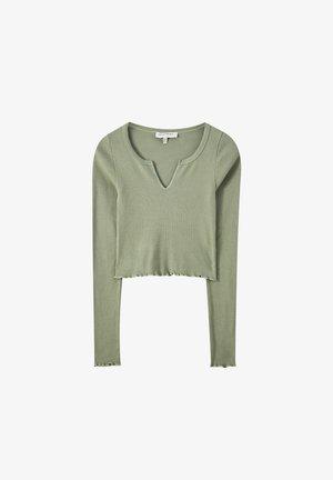 Top sdlouhým rukávem - mottled dark green
