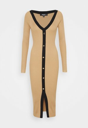 BUTTON THROUGH CARDI DRESS - Robe pull - camel