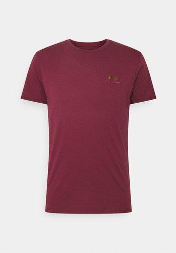 BASIC SMALL LOGO FOIL PRINT - T-shirt basic - burgundy/gold