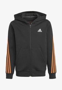 adidas Performance - STRIPES DOUBLEKNIT FULL-ZIP HOODIE - Training jacket - black - 0