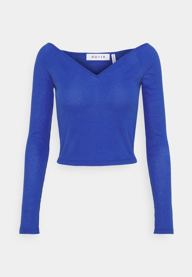 NU-IN - OFF SHOULDER HEART NECK - Long sleeved top - blue