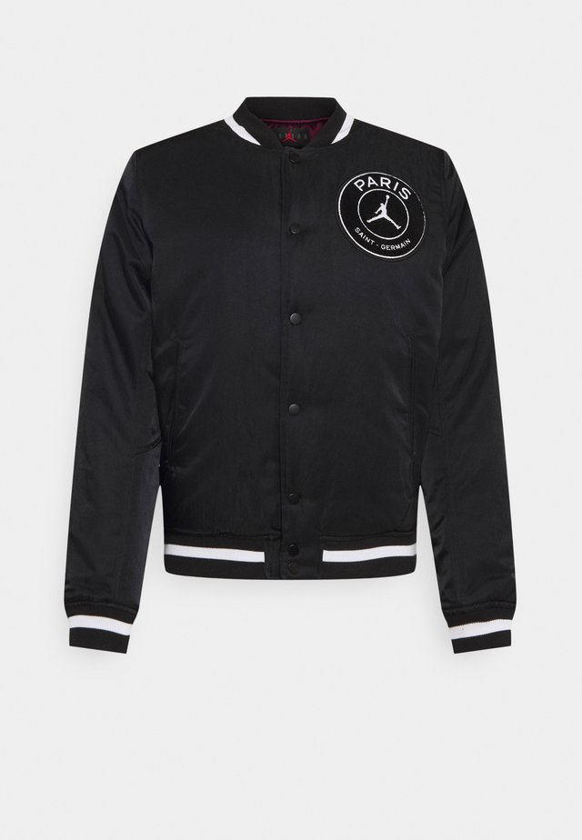 M J PARIS ST GERMAIN VARSITY JACKET - Bomberjacke - black/bordeaux/metallic gold