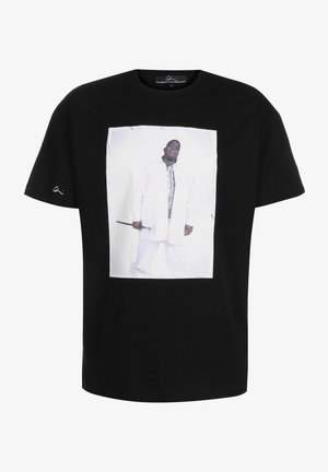 Print T-shirt - black/print white