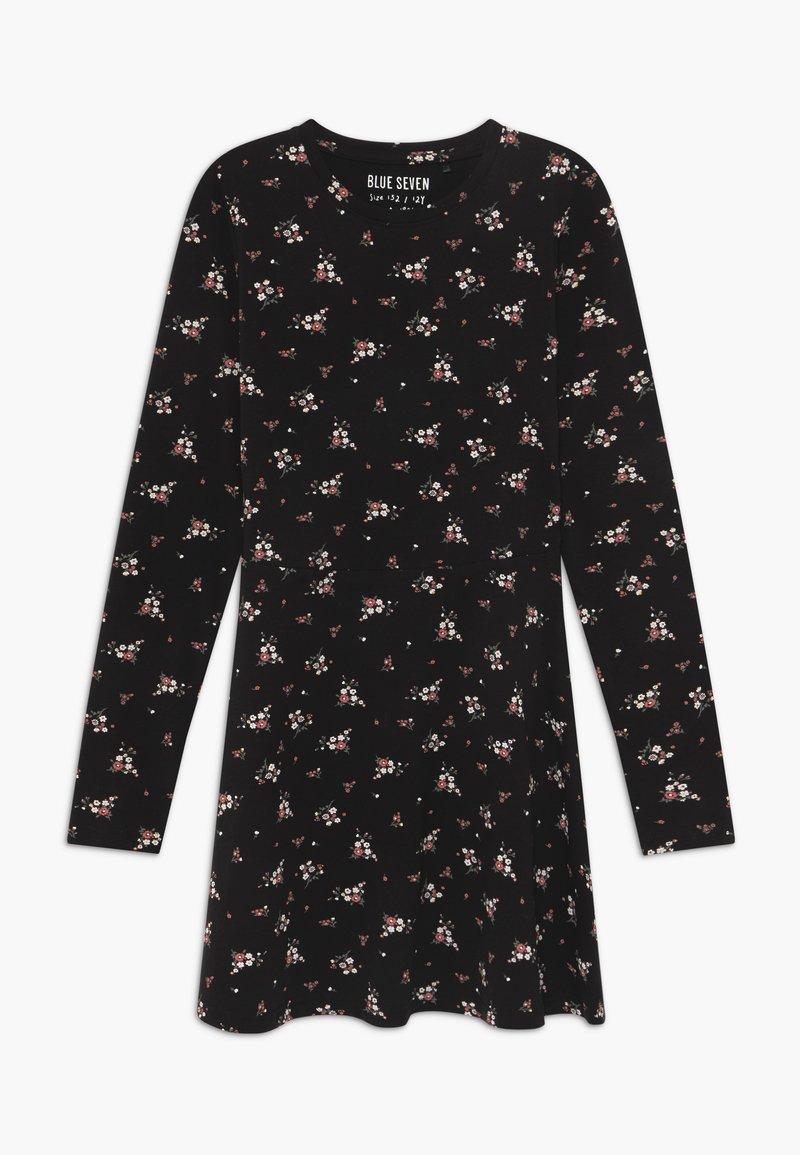 Blue Seven - TEENS FLORAL PRINT SKATER  - Jersey dress - schwarz