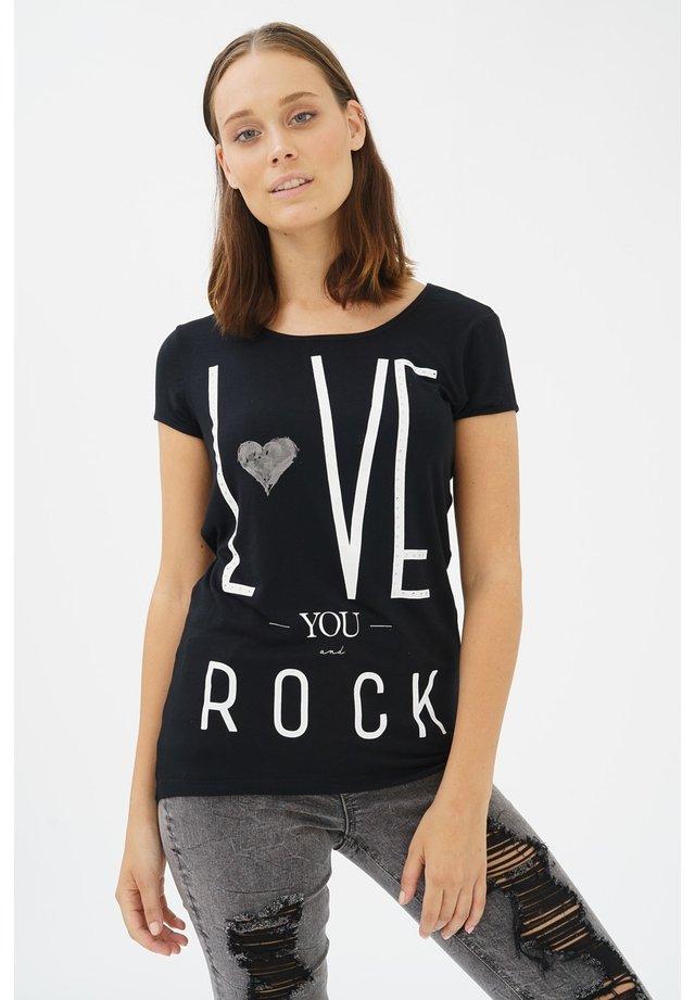 GABRIELLE MIT PRINT - Print T-shirt - black