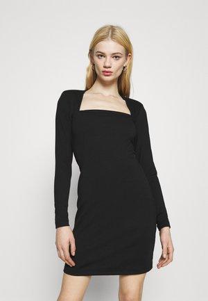PADDED SHOULDER DRESS - Jersey dress - black