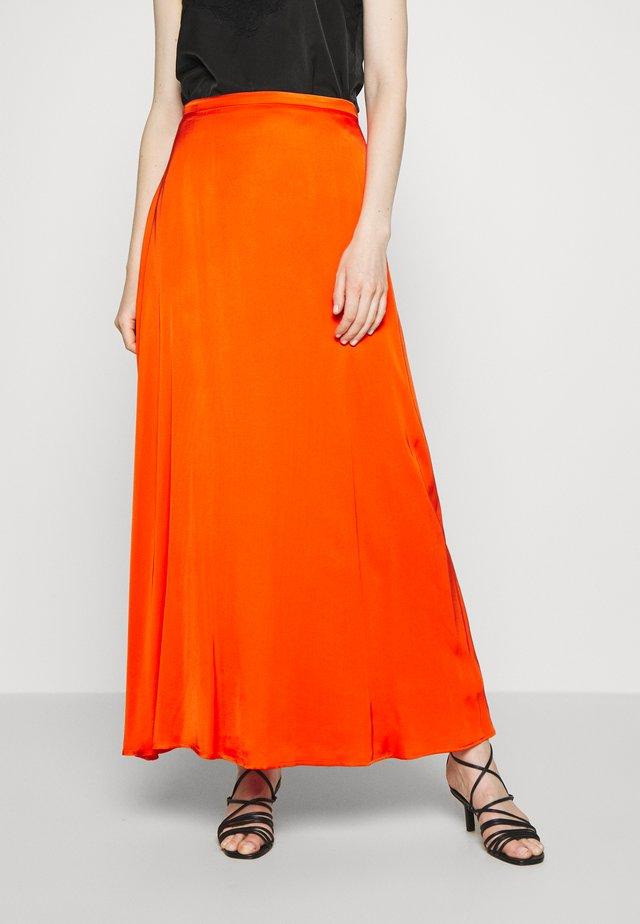 DRAPE - Maxi skirt - red orange