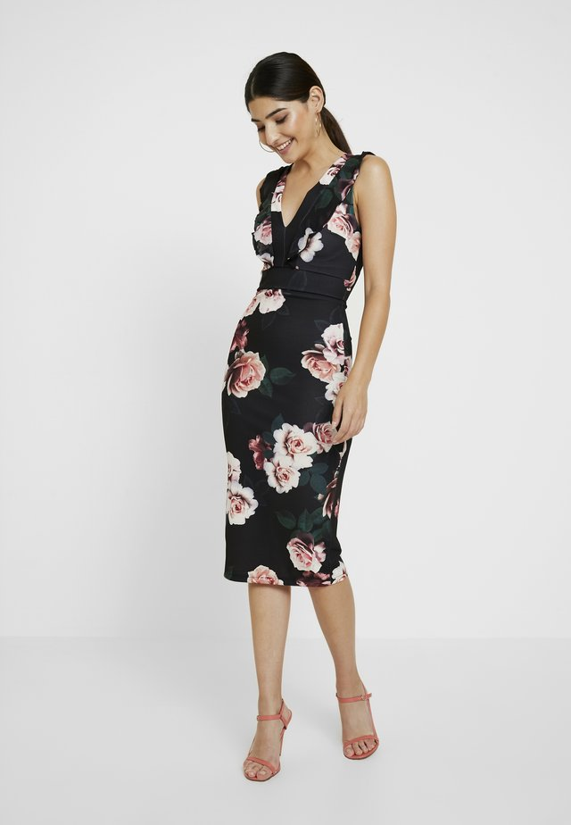 FLORAL RUFFLE DRESS - Sukienka etui - black