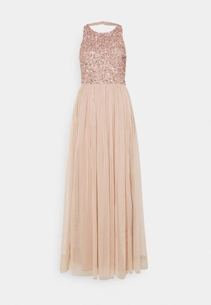 CUT OUT BACK DELICATE SEQUIN MAXI DRESS - Occasion wear - taupe blush